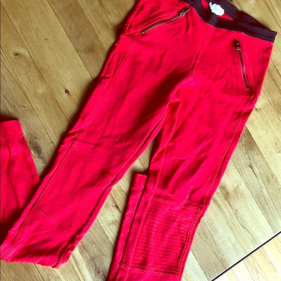 Witchery Pants - WITCHERY • Bright Red Moto Leggings with Zippers
